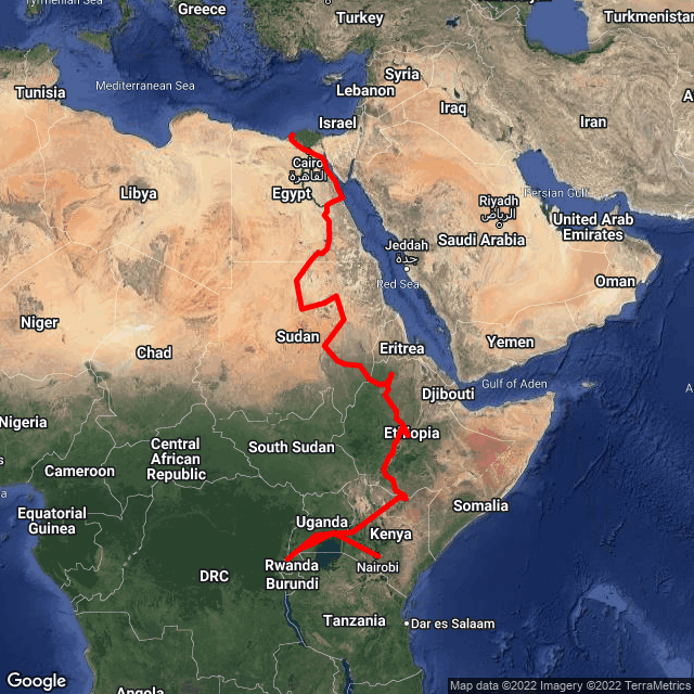Map of Nairobi to Cairo