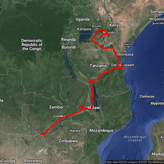Map of Nairobi & Gameparks to Victoria Falls
