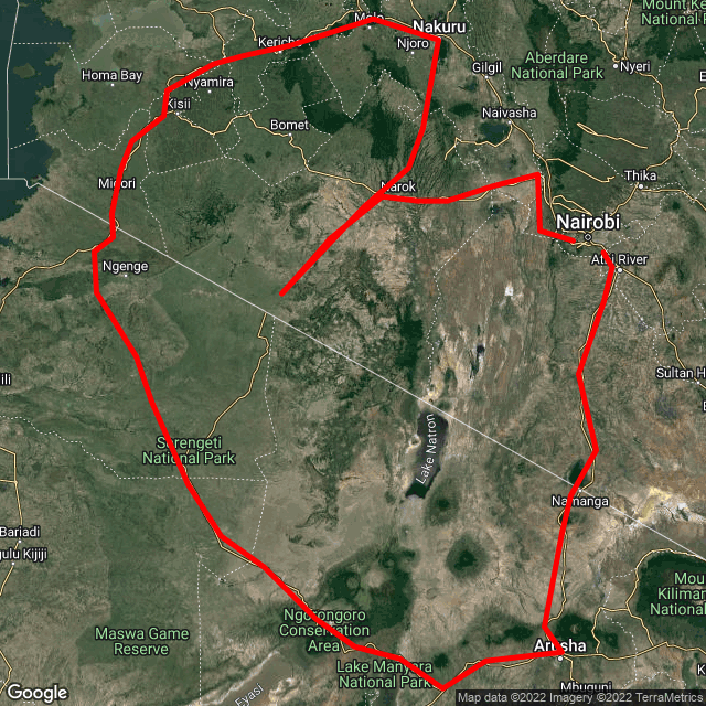 Map of Family Trip - Nairobi & Tanzania - Game Parks