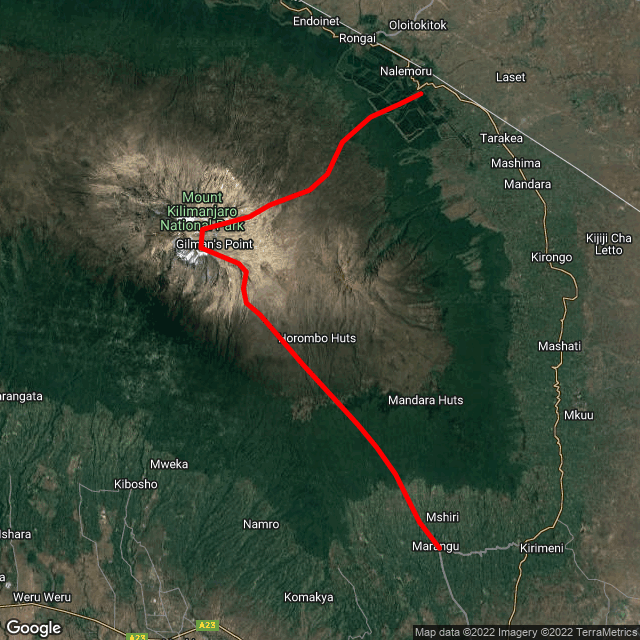 Map of Rongai Route