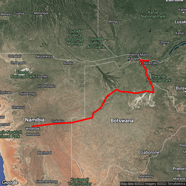 Map of Windhoek, Namibia to Vic Falls, Zimbabwe