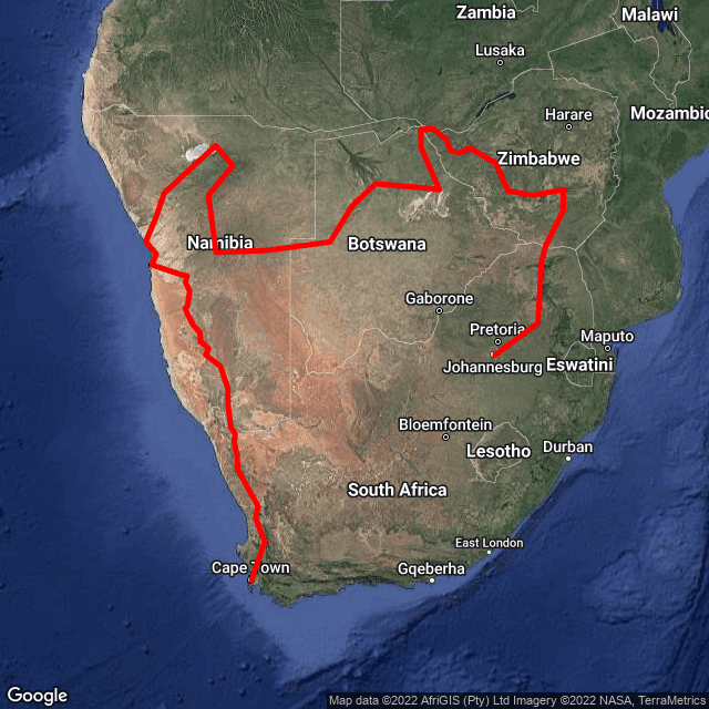 Map of J'burg to Cape Town via Vic Falls & Namibia