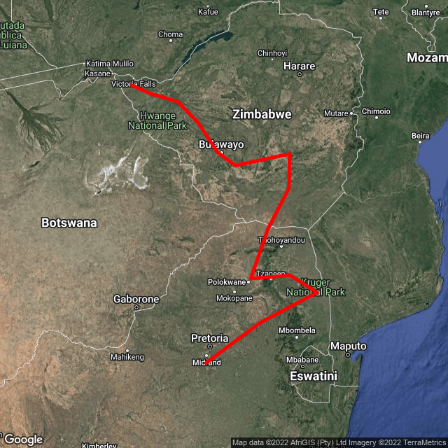Map of Family Trip - Johannesburg to Vic Falls