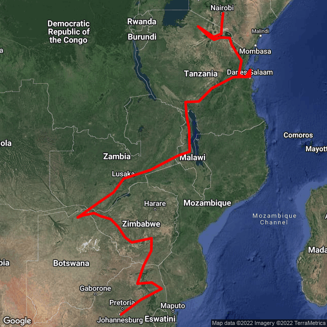 Map of Family Trip - Johannesburg to Nairobi