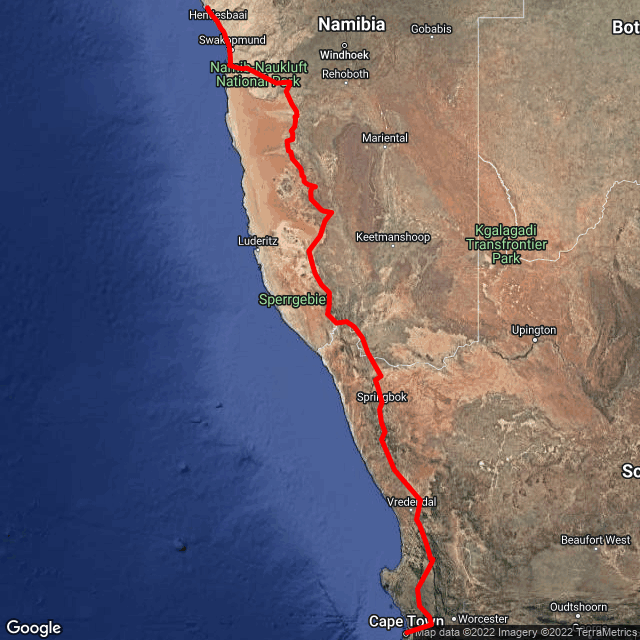 Map of Cape Town to Vic Falls via Namibia