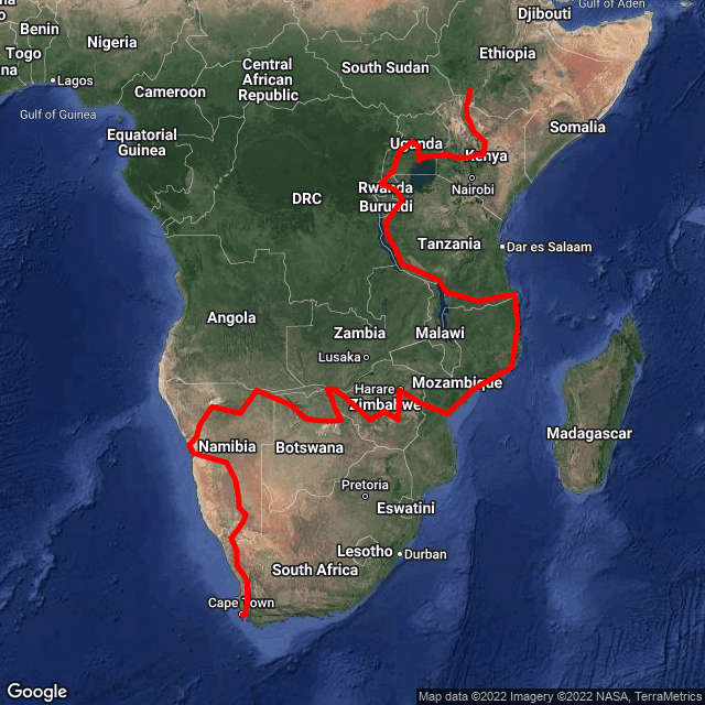 Map of Nile Expedition - South Africa to Egypt
