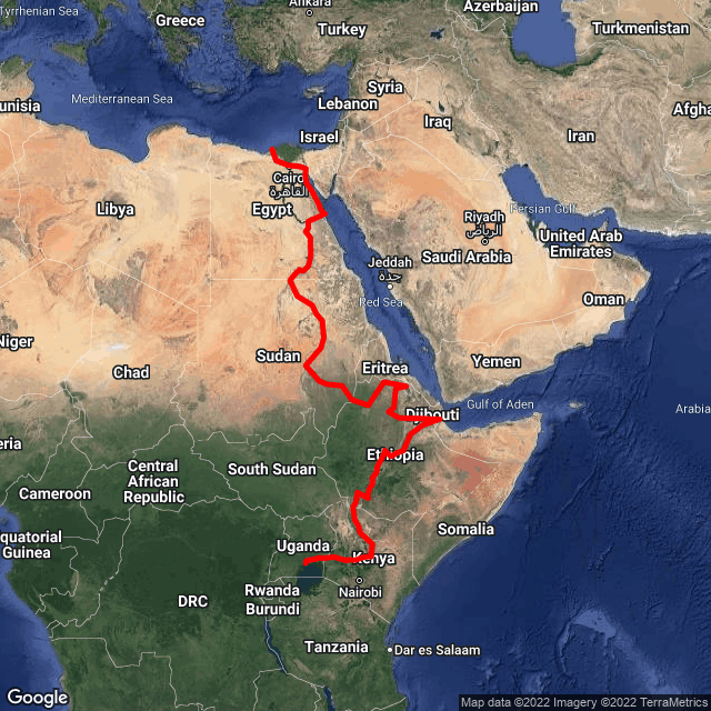 Map of Nile Expedition - Kampala to Egypt
