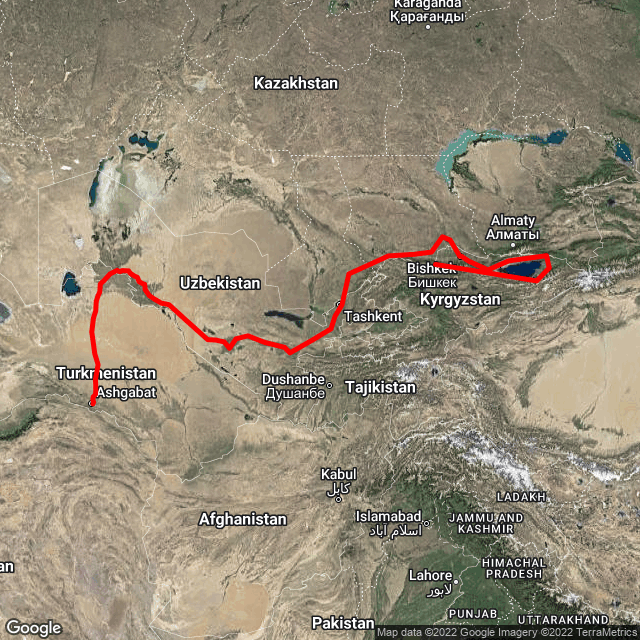 Map of Bishkek to Ashgabat - Silk Road Highlights