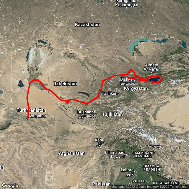 Map of Ashgabat to Bishkek - Silk Road Highlights