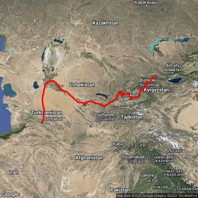 Map of Ashgabat, Turkmenistan to China