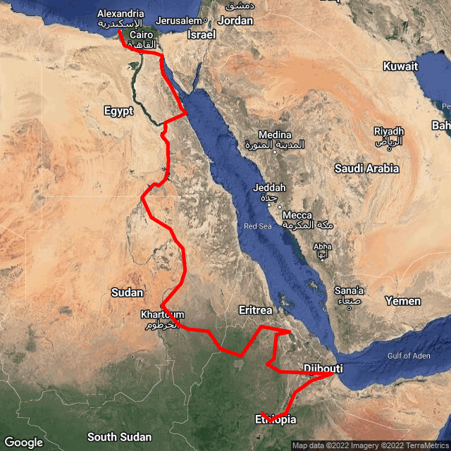 Map of Nile Expedition - Addis to Egypt