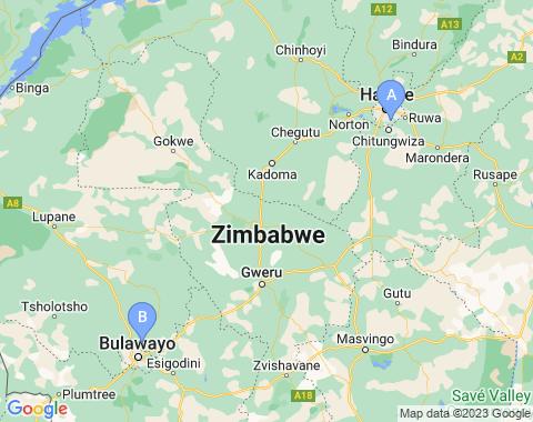Kaart Zimbabwe