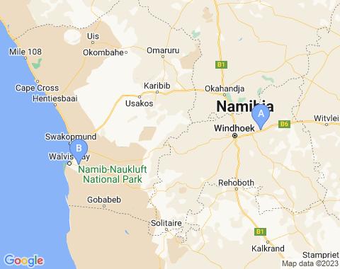 Kaart Namibie