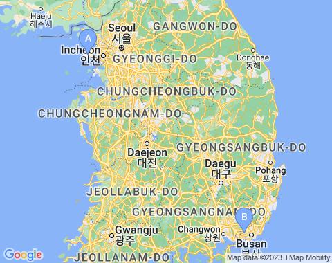 Kaart Zuid-Korea