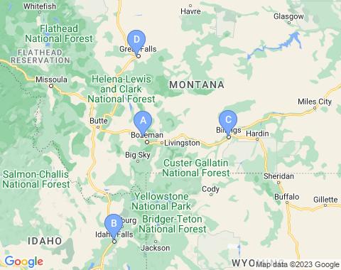 Kaart Yellowstone