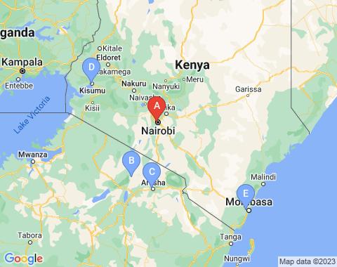 Kaart Nairobi