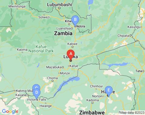 Kaart Lusaka
