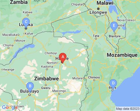 Kaart Harare