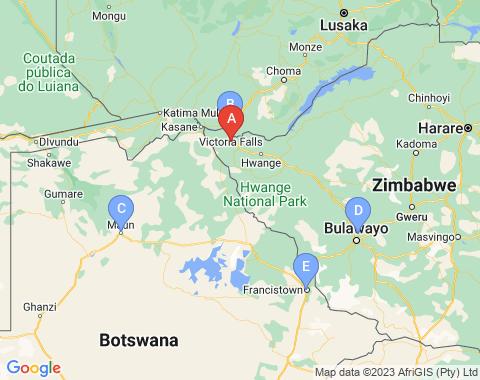 Kaart Victoria Falls