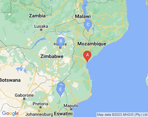 Kaart Beira Mozambique
