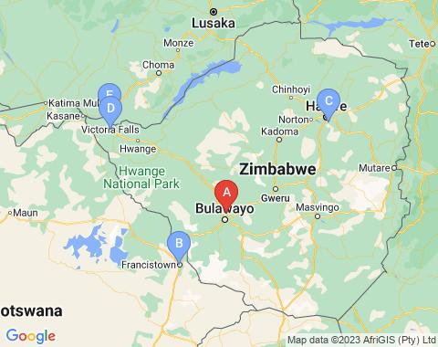 Kaart Bulawayo