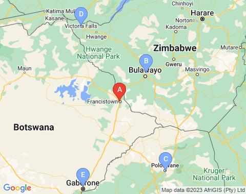Kaart Francistown Botswana