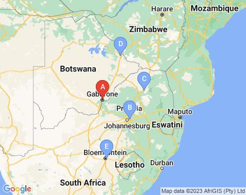 Kaart Gaborone