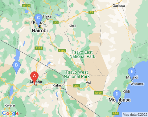 Kaart Arusha