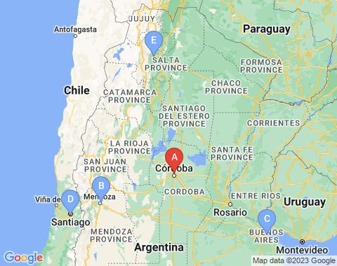 Kaart Cordoba Argentinie