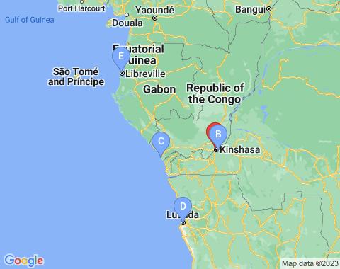 Kaart Congo Brazzaville