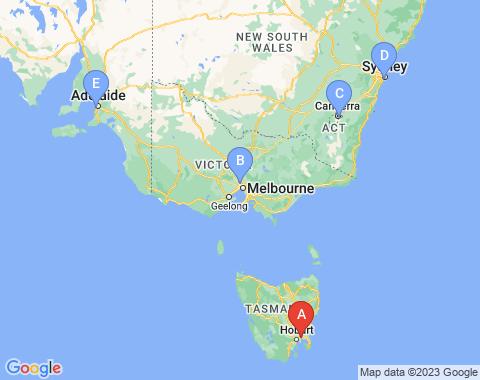 Kaart Hobart