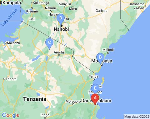 Kaart Dar Es Salaam