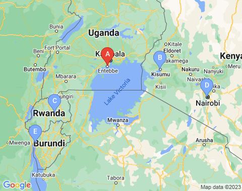 Kaart Entebbe