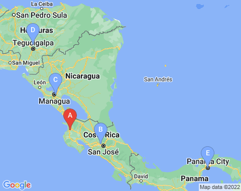 Kaart Liberia Costa Rica