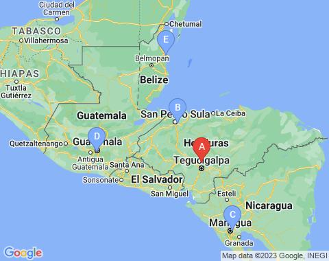 Kaart Tegucigalpa Honduras