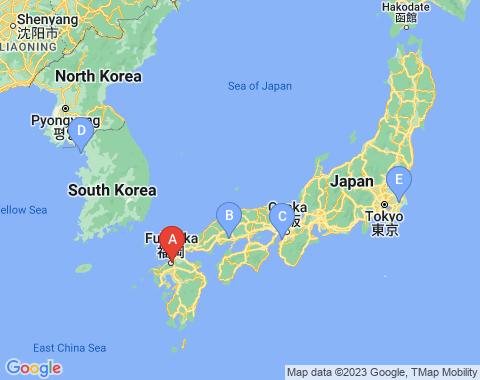 Kaart Fukuoka