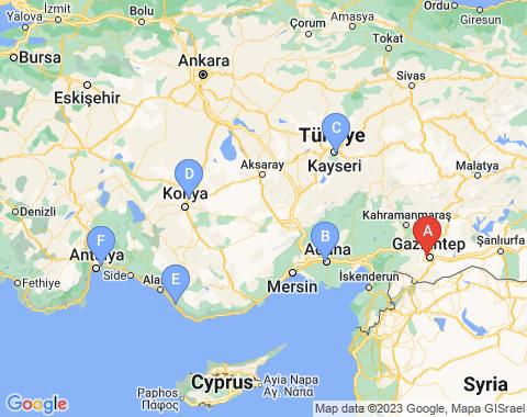 Kaart Gaziantep