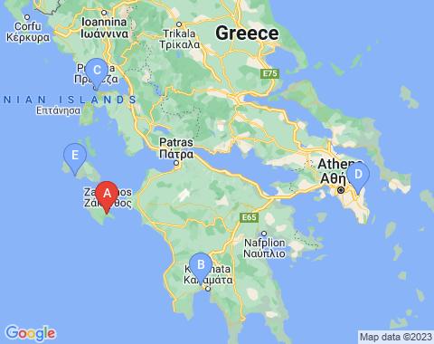 Kaart Zakynthos
