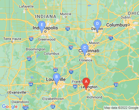 Kaart Lexington