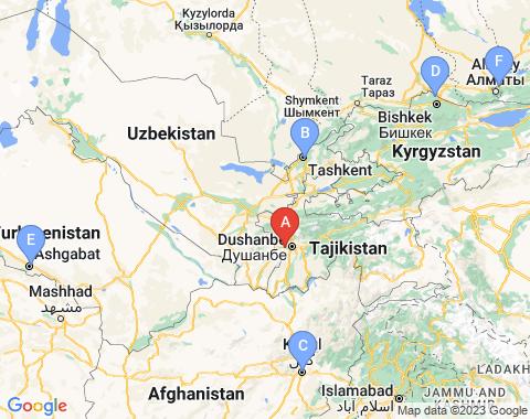 Kaart Dushanbe