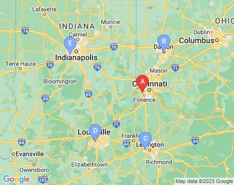 Kaart Cincinnati