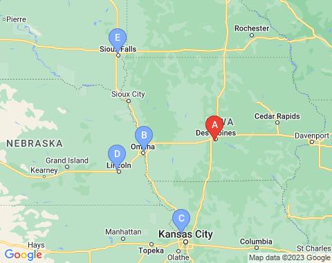 Kaart Des Moines