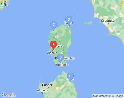 Kaart Ajaccio