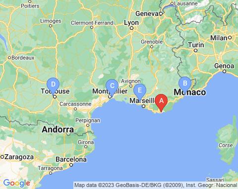Kaart Toulon