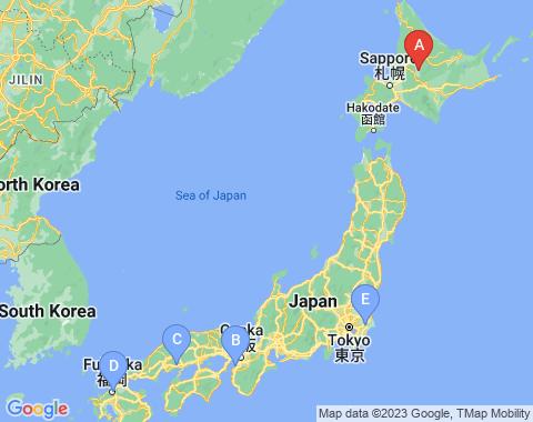 Kaart Asahikawa