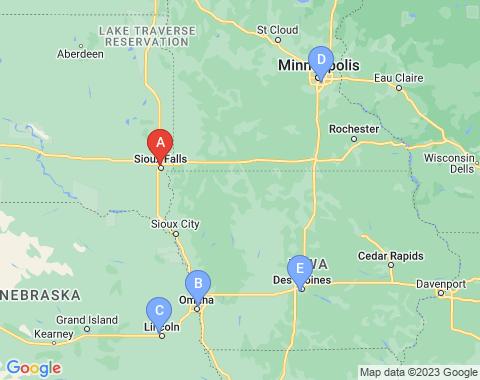 Kaart Sioux Falls