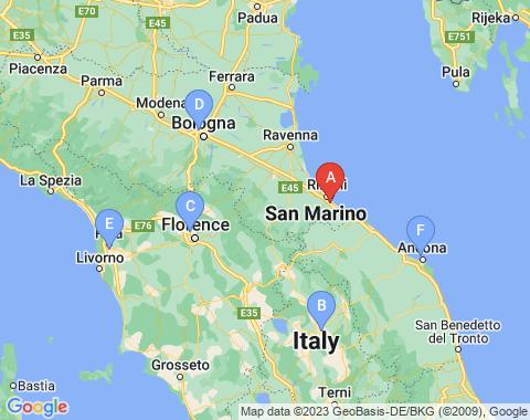 Kaart Rimini