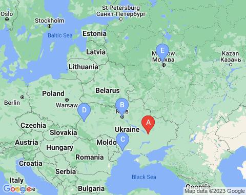 Kaart Dnepropetrovsk