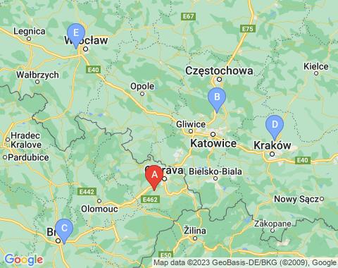 Kaart Ostrava
