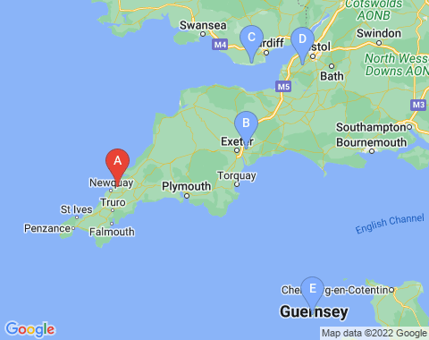 Kaart Newquay Cornwall